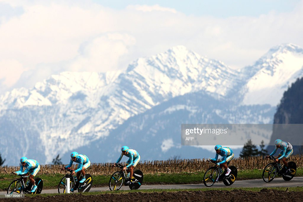 Cyclists of Astana Pro Team with leader from Italy's <a gi-track='captionPersonalityLinkClicked' href=/galleries/search?phrase=Vincenzo+Nibali&family=editorial&specificpeople=770634 ng-click='$event.stopPropagation()'>Vincenzo Nibali</a> ride during the Team Time Trial of 14.1 km of the cycling road race 'Giro del Trentino' in Lienz, on April 16, 2013.