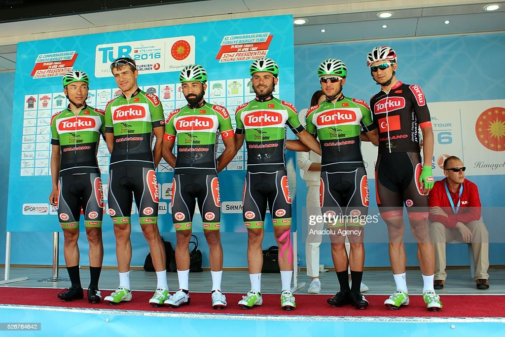 Cyclists of Konya Torku Seker Spor team pose for a photograph before the stage of Marmaris - Selcuk lap on the 8th stage of the 52nd Presidential Cycling Tour of Turkey in Mugla, Turkey on May 1, 2016.