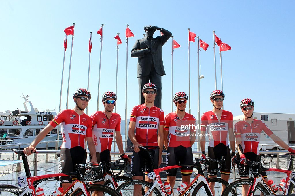 Cyclists of Lotto Soudal team pose for a photograph before the stage of Marmaris - Selcuk lap on the 8th stage of the 52nd Presidential Cycling Tour of Turkey in Mugla, Turkey on May 1, 2016.
