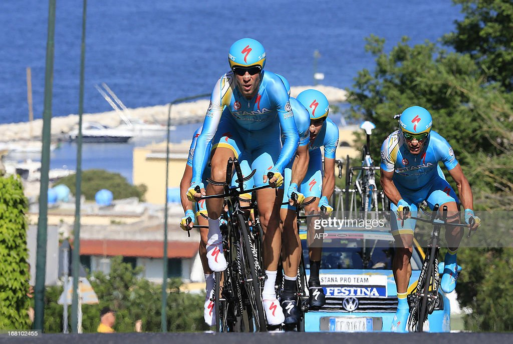 Cyclists of Team Astana ride during the second stage of 96th Giro d'Italia Team Time Trial, a 17.4 km from Ischia to Forio on May 5, 2013 in Forio, on the island of Ischia. Italian Salvatore Puccio of Team Sky took possession of the Giro d'Italia pink jersey from overnight leader Mark Cavendish on Sunday after Team Sky dominated a stage two team time trial on the island of Ischia.