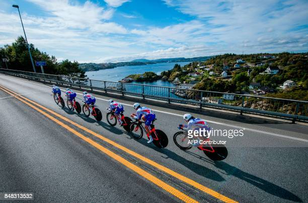 Cyclists of team FDJ Nouvelle Aquitaine Futuroscope compete during the Women's team time trial at the UCI Cycling Road World Championships on...