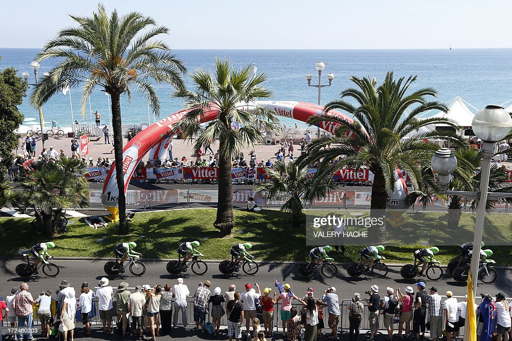 Cyclists of the Belkin team ride on July 2, 2013 during the 25 km team time-trial and fourth stage of the 100th edition of the Tour de France cycling race in Nice, French Riviera.