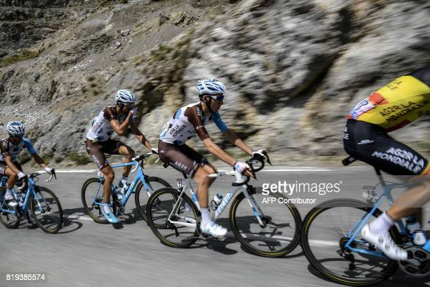 Cyclists of the France's AG2R La Mondiale cycling team Belgium's Oliver Naesen France's Romain Bardet Luxemburg's Ben Gastauer and France's Alexis...