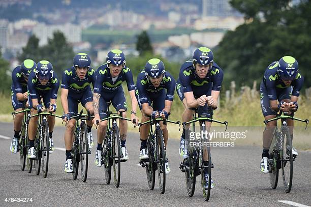 Cyclists of the Movistar team ride to clock the third time during the team timetrial third stage of the 67th edition of the Dauphine Criterium...