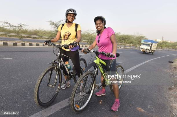 Cyclists on Gurgaon Faridabad Road on May 14 2017 in Gurgaon India GurgaonFaridabad Expressway is one of most popular Biking Trails amongst cyclists...