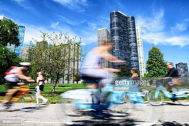 Cyclists, on lakeshore bike path, downtown Chicago