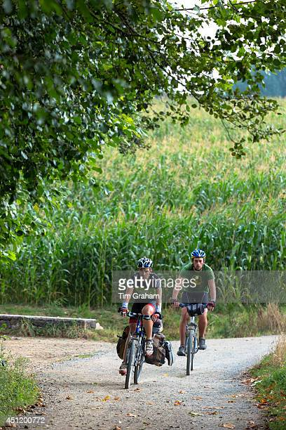 Cyclists on the Camino de Santiago Pilgrim's route to Santiago de Compostela in Galicia Spain