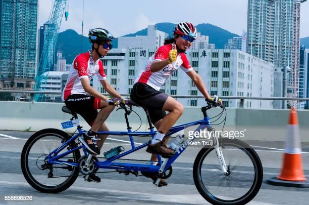 Cyclists participate in a race during the Sun Hung Kai Properties Hong Kong Cyclothon on October 8 2017 in Hong Kong Hong Kong Over 2500...