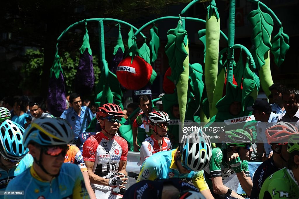 Cyclists prepare on the starting grid during Stage 6 of the 2016 Tour of Turkey, Kumluca to Elmali (117 km) on April 24, 2016 in Kumluca, Turkey.