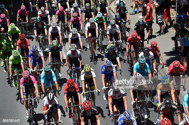 Cyclists ride along the Adelaide hills during the stage 2 of the Tour Down Under cycling race from Unley to Stirling in Adelaide on January 20 2016 /...