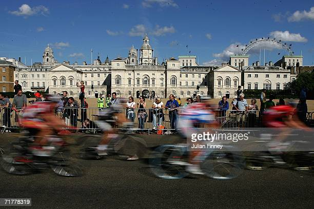 Cyclists ride past Horse Guards Parade on stage 6 of the Tour of Britain from Greenwich Park to The Mall on September 3 2006 in London England