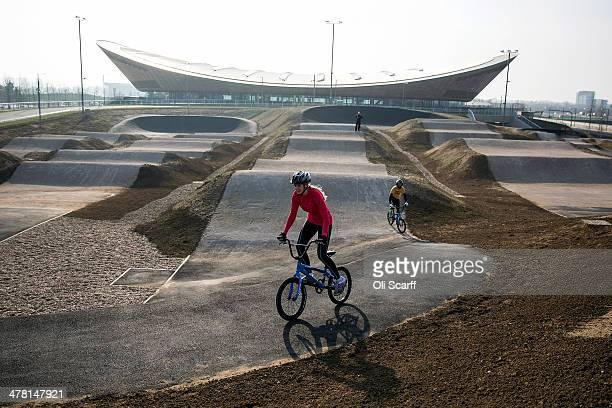 Cyclists ride the BMX track at the Lee Valley Velopark formerly the cycling venue for the London 2012 Olympic Games on March 12 2014 in London...