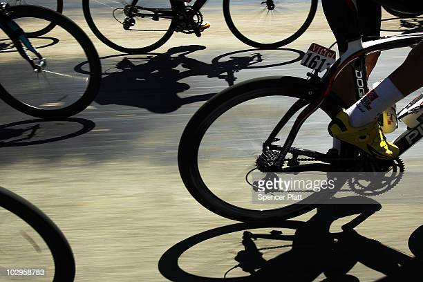 Cyclists ride the course of Stage 14 of the Tour de France the first stage to enter the Pyrenees on July 18 2010 in Ax 3 Domaines France The 1845km...