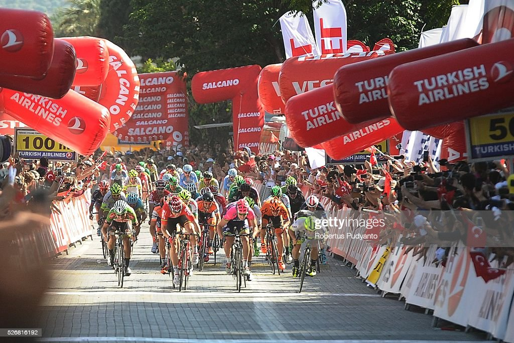 Cyclists sprint to finish line during Stage 8 of the 2016 Tour of Turkey, Marmaris to Selcuk (201.5 km) on May 1, 2016 in Marmaris, Turkey.