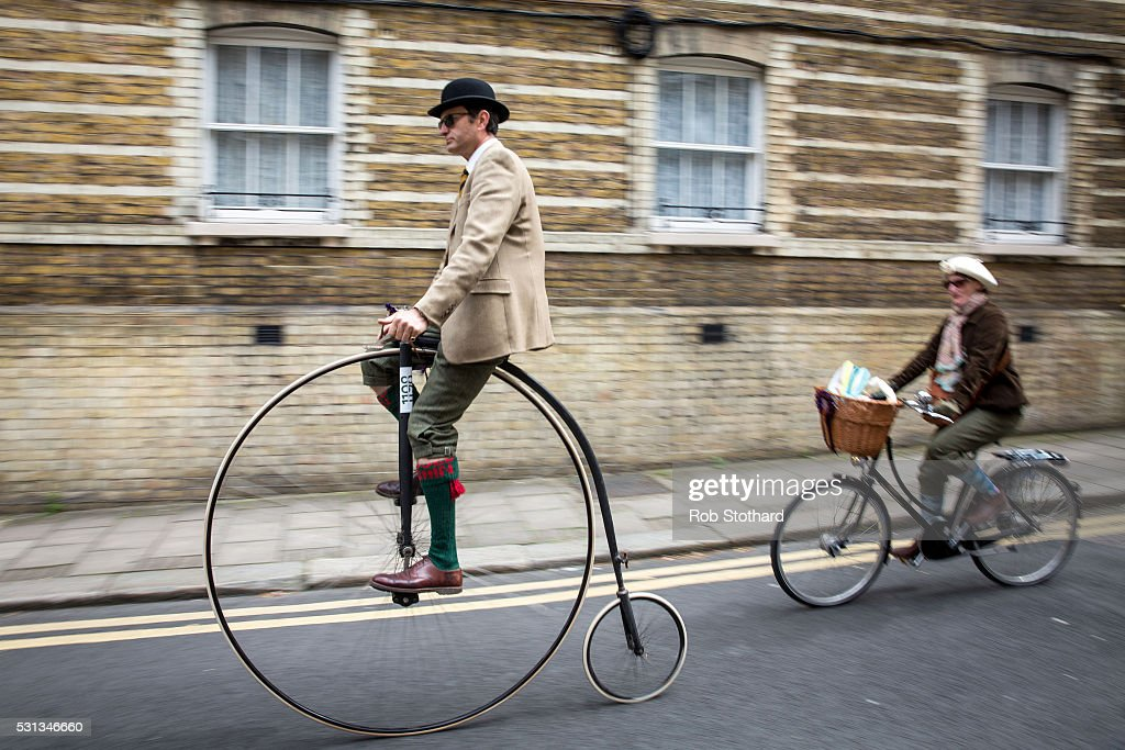 Cyclists take part in the 8th annual Tweed Run on May 14, 2016 in London, England. The Tweed Run sees cyclists ride through the streets of London dressed in vintage tweed cycling attire.