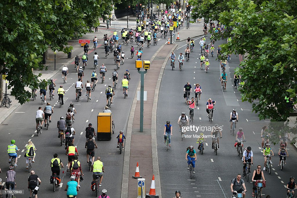 Cyclists take part in the Ride London Freecycle event on August 3, 2013 in London, England. Up to 50, 000 cyclists are expected to ride the eight mile traffic free route through central London.