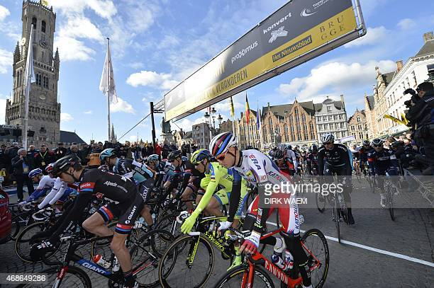 Cyclists take the start during the 99th Tour of Flanders oneday cycling race 2642km from Oostkamp to Oudenaarde on April 5 in Brugge AFP PHOTO /...