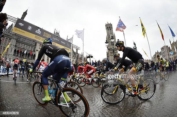 Cyclists take the start of the 'Ronde van VlaanderenTour of Flanders' a oneday cycling race of 259 km from Brugge to Oudenaarde Sunday 06 April 2014...