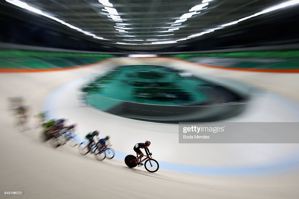 Cyclists train at the newly delivered Olympic Velodrome at Olympic Park on June 26, 2016 in Rio de Janeiro, Brazil.
