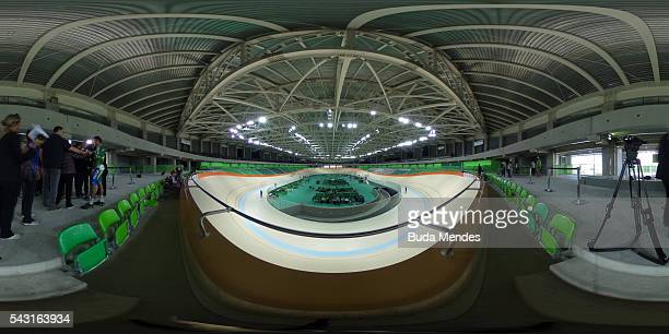 Cyclists train at the newly delivered Olympic Velodrome at Olympic Park on June 26 2016 in Rio de Janeiro Brazil