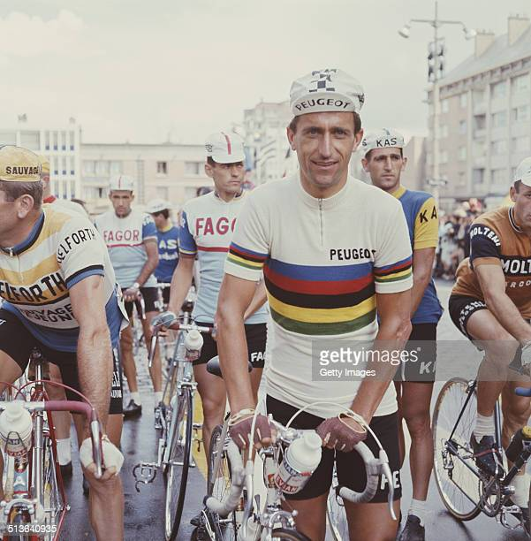 CyclistTom 'Tommy' Simpson of Great Britain wearing the rainbow jersey of the World Road Race champion before the first stage of the Tour de France...