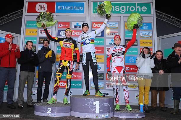 SP Hoogstraten 2013 Podium / Klaas VANTORNOUT / Sven NYS / Kevin PAUWELS / Celebration Joie Vreugde / Superprestige / Tim De Waele