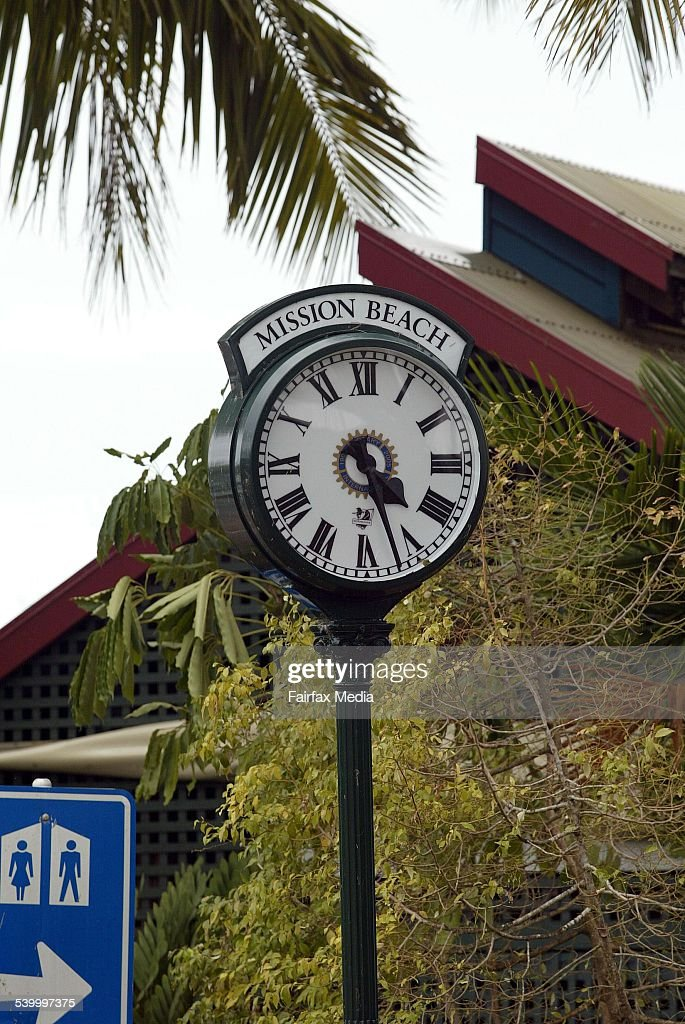 Cyclone Larry A clock in the main street of Mission Beach Queensland stopped at 427am the time the area lost power during Cyclone Larry 22 March 2006...
