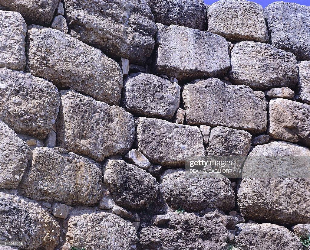 Cyclopean walls of The Acropolis in Mycenae, Greece. Mycenaean civilization, 13th-14th Century BC.