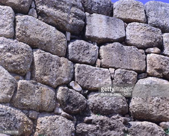 Cyclopean walls of The Acropolis in Mycenae Greece Mycenaean civilization 13th14th Century BC