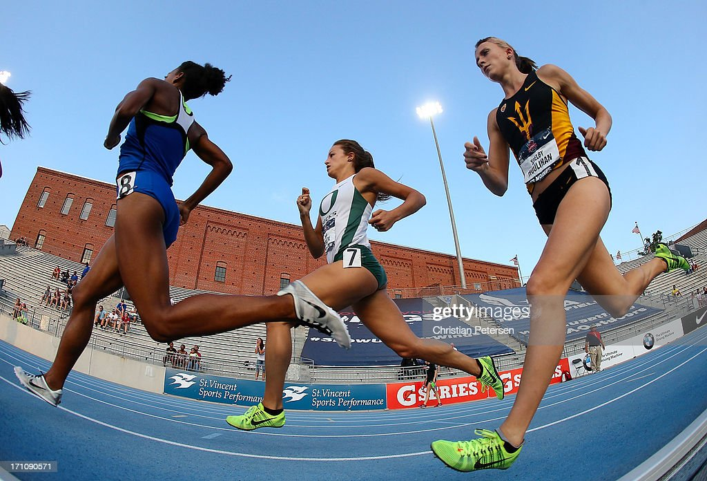 Cydney Ross, Laura Roesler and Shelby Houlihan compete in the semi final Women's 800 Meter Run on day two of the 2013 USA Outdoor Track & Field Championships at Drake Stadium on June 21, 2013 in Des Moines, Iowa.