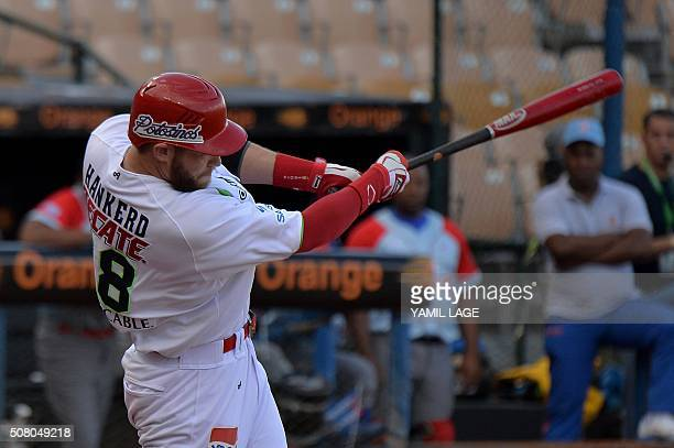 Cyle Hankerd of Mexico hits against Cuba during their 2016 Caribbean baseball series game on February 2 2016 in Santo Domingo Dominican Republic AFP...