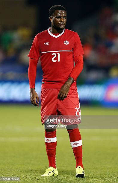 Cyle Larin of Canada during the 2015 CONCACAF Gold Cup Group B match between Canada and Costa Rica at BMO Field on July 14 2015 in Toronto Ontario...
