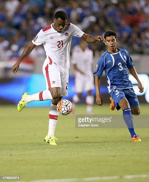 Cyle Larin of Canada takes a shot in front of Milton Molina of El Salvador in their CONCACAF Gold Cup Group B match at StubHub Center on July 8 2015...