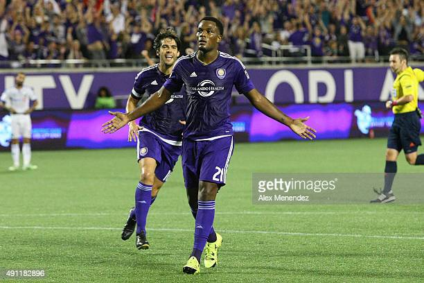 Cyle Larin of Orlando City SC celebrates his first half goal during an MLS soccer match between the Montreal Impact and the Orlando City SC at the...