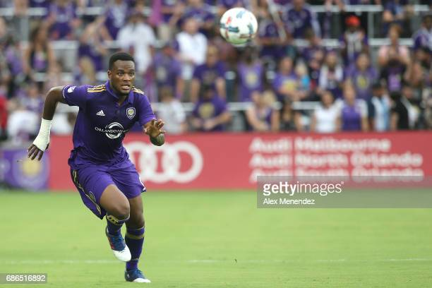Cyle Larin of Orlando City SC chases a loose ball during a MLS soccer match between New York City FC and the Orlando City SC at Orlando City Stadium...
