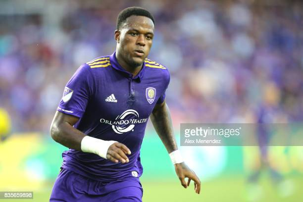 Cyle Larin of Orlando City SC chases a loose ball during a MLS soccer match between the Columbus Crew SC and the Orlando City SC at Orlando City...