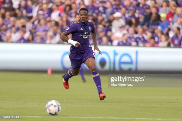 Cyle Larin of Orlando City SC chases the ball during a MLS soccer match between New York City FC and Orlando City SC at the Orlando City Stadium on...