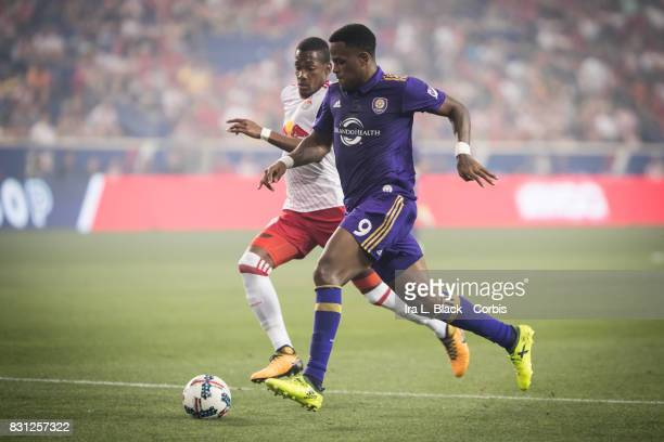 Cyle Larin of Orlando City SC drives to the goal against Michael Murillo of New York Red Bulls during the MLS match between New York Red Bulls and...