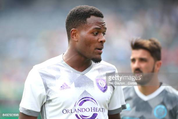 Cyle Larin of Orlando City SC in action during the New York City FC Vs Orlando City SC regular season MLS game at Yankee Stadium on April 23 2017 in...