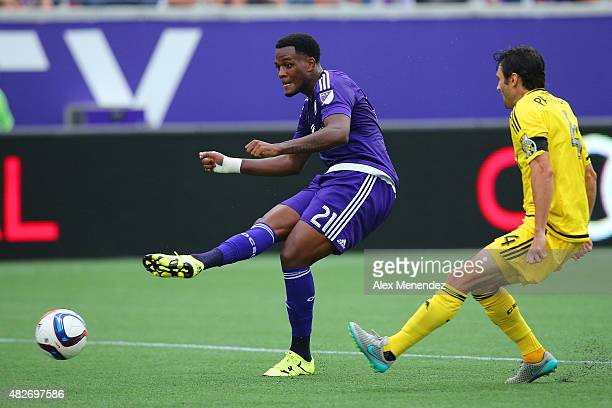 Cyle Larin of Orlando City SC kicks the ball during a MLS soccer match between the Columbus Crew SC and the Orlando City SC at the Orlando Citrus...