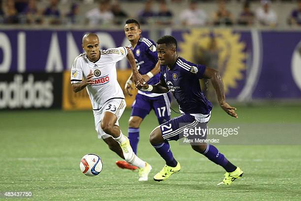 Cyle Larin of Orlando City SC outruns Fabinho of Philadelphia Union during a MLS soccer match between the Philadelphia Union and the Orlando City SC...