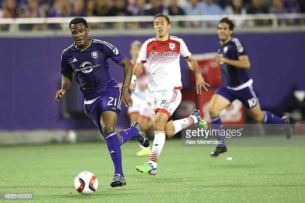 Cyle Larin of Orlando City SC runs with the ball during a MLS soccer match between DC United and the Orlando City SC at the Orlando Citrus Bowl on...