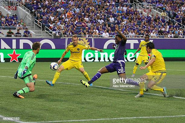 Cyle Larin of Orlando City SC scores a goal against Steve Clark of Columbus Crew SC during a MLS soccer match between the Columbus Crew SC and the...