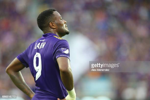 Cyle Larin of Orlando City SC watches a replay of his missed penalty kick during a MLS soccer match between New York City FC and the Orlando City SC...