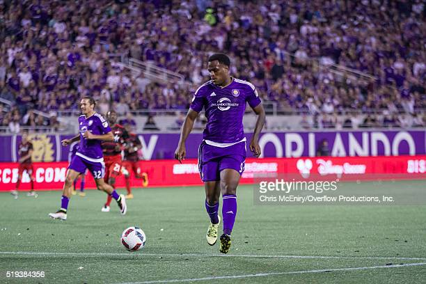 Cyle Larin of the Orlando City SC attacks against the Portland Timbers on April 3 2016 at the Citrus Bowl in Orlando Florida