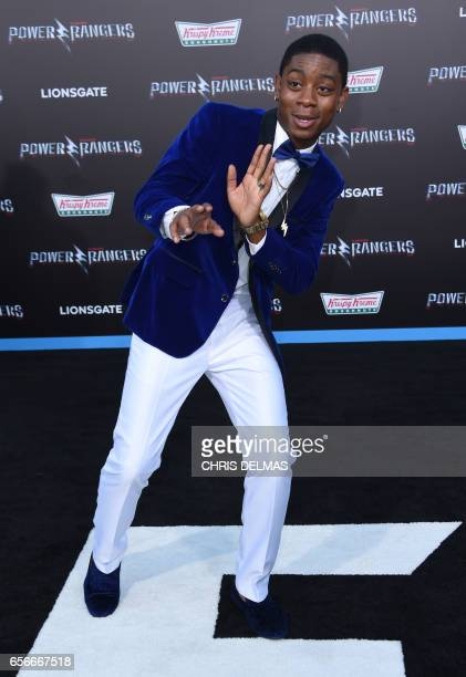 RJ Cyler attends the red carpet arrivals for the world premiere of Power Rangers at the Village theatre in Hollywood California on March 22 2017 /...