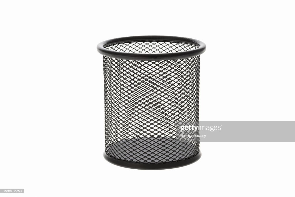 cylinder shaped metal net box pencil. : Stock Photo