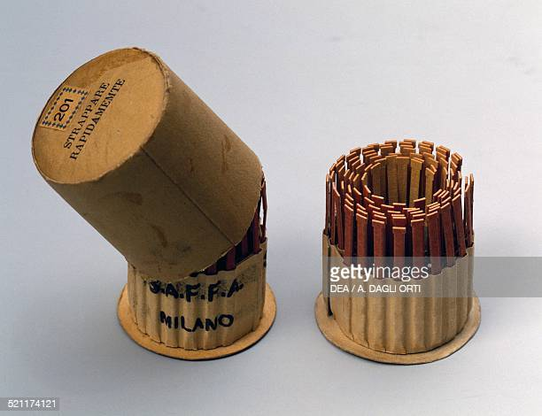 Cylindrical corrugated matchbox made by Saffa 1930s Italy 20th century Italy