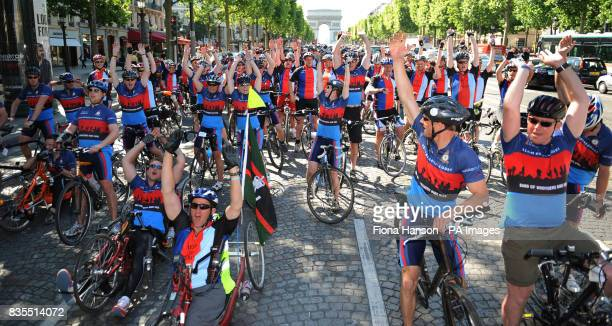 Cylists from Headley Court the centre for wounded servicemen and women in Surrey front the Help for Heroes Band of Brothers bike riders up the Champs...