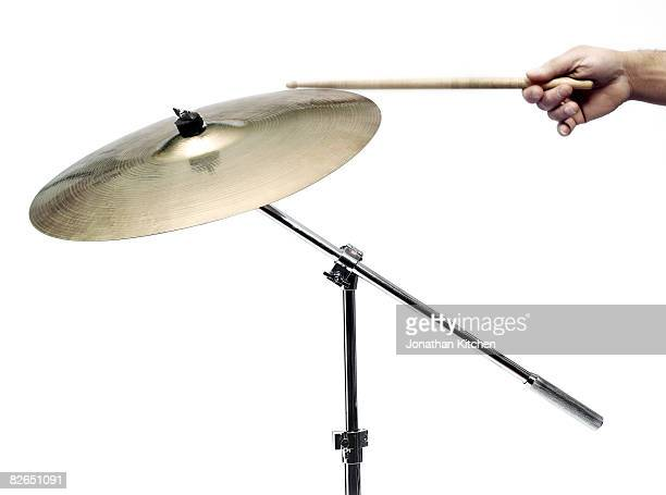 Cymbal hit with a drum stick